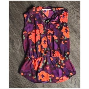 Rachel Roy Vibrant floral top with bow tie detail